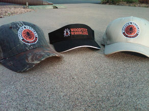 Ball caps with embroidered logo: Mossy Oak Camo or Tan  $20, Ping Golf Visor, black with embroidered lettering $20