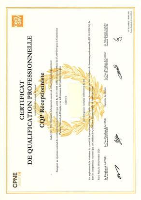 CQP Certificat de Qualification Professionnelle gouvernante réceptionniste