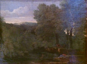 Gaspard Dughet, paesaggio con ninfa e satiro, GNAA