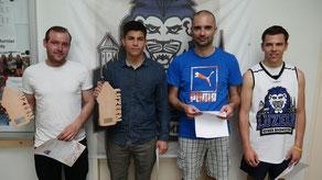 Podest Herren: 2. Martin Schenker, 1. Severin Wirth, 3. Christian Vogel, Stefan Zedi