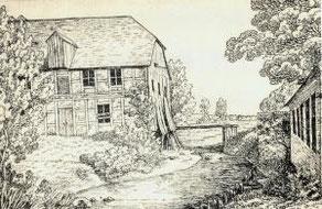 Die Panke-Mühle auf einer Zeichnung von 1828