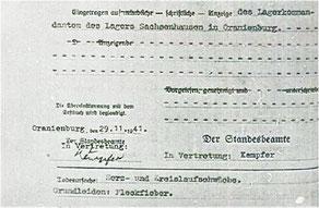 Todesurkunde des Standesamtes Oranienburg