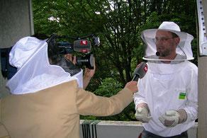 Biozida Schädlingsbekämpfung bei einer Wespenbekämpfung im Schweizer Fernsehen SRF (Schweiz Aktuell) 2013