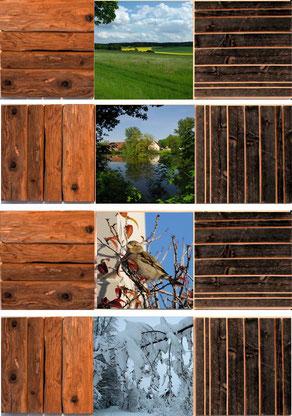 Eine Wanddekoration, die sonst keiner hat - Jahreszeitenbilder mit Altholzelementen
