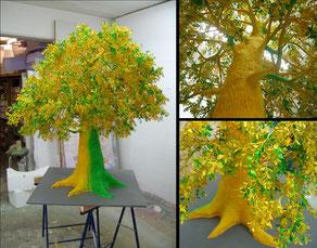 Anfertigung des Baumes für eine Präsentation, H 120 cm