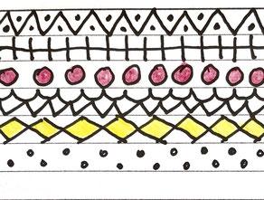 Die einzelnen Fächer können mit unterschiedlichen Mustern in schwarz-weiß oder in Farbe gestaltet werden.  Malvorlage Schutzengel UKo-Art