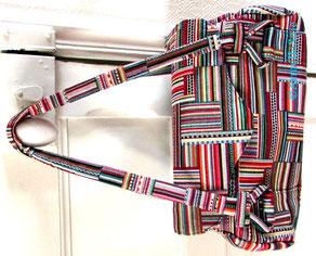 sac,bandoulière, à main,fait main, France, noir,fabriqué en France, multicolore,chevron,création textile,
