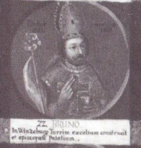 """Bruno als 22. Bischof von Hildesheim auf einem Gemälde mit Medaillondarstellungen aller Hildesheimer Bischöfe bis zum Ende des 18. Jahrhunderts; lateinische Inschrift: """"In Winzenburg baute er einen hohen Turm und eine bischöfliche Burg."""""""