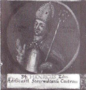 """Heinrich II. als 34. Bischof von Hildesheim auf einem Gemälde mit Medaillondarstellungen aller Hildesheimer Bischöfe bis zum Ende des 18. Jahrhunderts; lateinische Inschrift: """"Er baute die Burg Steuerwald."""""""