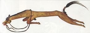 Die Indianer hingen so an ihren Pferden, daß sie ihnen vorsangen und Darstellungen der im Kampf getöteten Tiere schnitzten. Die roten Löcher dieser Figur, die von einem Sioux stammt, stellen Wunden des Tieres dar.