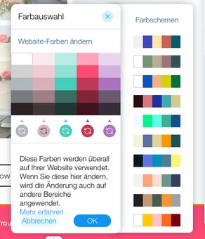 Farbschema im Wix Editor ändern