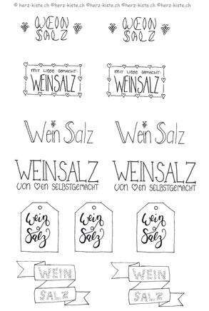 Gratis Printable Etiketten für Weinsalz mit Handlettering