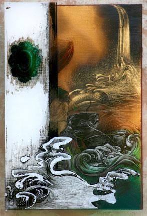 「鯉乗り」ガラス絵  A4 BOX額 (ガラス三 重)