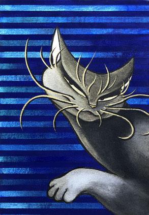 「光の宮殿 ー青ー」 SM号 和紙 墨 金泥 岩絵の具 膠 金箔