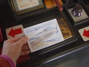 岡崎城の中で浮世絵摺り体験(無料)。4色の版画完成