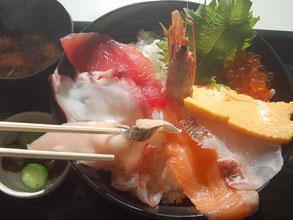 新鮮でお値打ち、海鮮とまりん丼はライダーにも人気