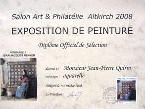 Salon d'Altkirch 68, en l'honneur de Jean-Jacques Henner pour la sortie du timbre-poste représentant un de ses tableaux.