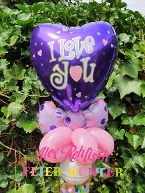 Geldgeschenk Frau Teenie Teenager lila Herz Düren Aachen Hochzeitstag Valentinstag Ballon Gutschein