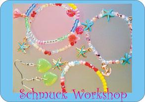 Kindergeburtstag feiern Schmuck Workshop im Perlenreichen Perlenladen für Kinder 7, 8, 9 Jahre