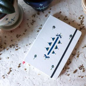 carnet artisanal blanc, original, motif tatouage berbère, papeterie, cadeau