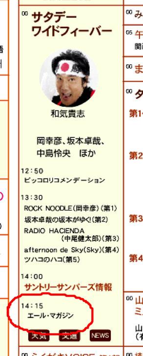 赤丸が放送時間帯