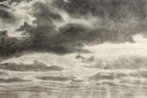Benjamin Beßlich: Cloudland, 66 x 148 cm, Bleistift auf Transparentpapier, 2018