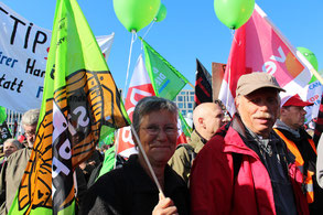 Teilnehmer der Großdemo gegen TTIP & Ceta in Berlin am 10.10.2015. Foto: Helga Karl