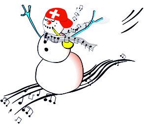 Notenlesen und Klavierspielen lernen mit dem Schneemann.