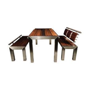 Gartenmöbel Edelstahl  Holzflächen Freisteller