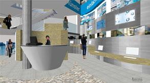 STADTWERKE CITY SHOP MÜNSTER INNENRAUMPERSPEKTIVE 2; BOCKHAUS-ODENTHAL ARCHITEKTEN MÜNSTER,INTERIOR DESIGN, ticketverkauf, stadtwerke münster, bus, bahn