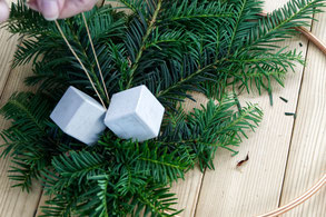 Attaching Concrete Ornaments Winter Wreath PASiNGA Decor Idea