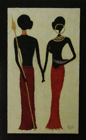 THANDU & KAMALI 50 x 80 cm, Acryl & Sand gespachtelt (verkauft)