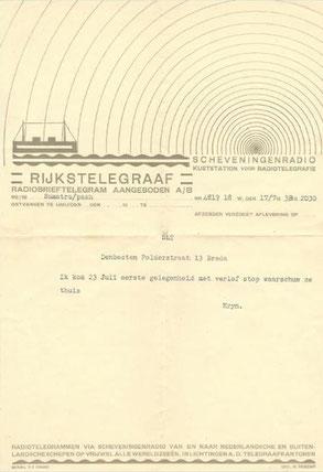 Radiobrieftelegram uit Soerabaja