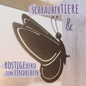 """Eichhörnchen aus Metall in Rostoptik vor grüner Landschaft mit Sonnenschein. Bild trägt die Aufschrift """"Schraubertiere""""."""