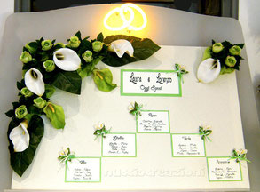 Tableau de mariage calle e rose verdi