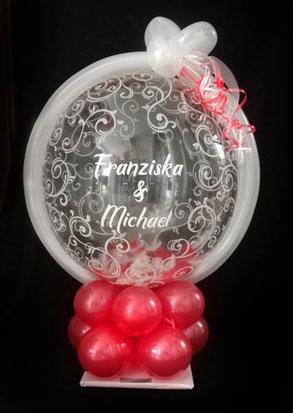 Bubble Ballon Luftballon Geschenk Geschenkballon Überraschung Hochzeit Herzlichen Glückwunsch Geldballon Geld Geldgeschenk Herz Verpackungsballon Verpackung Blickfang Hochzeitsfest Trauung Party Standesamt Firma Arbeitskollegen Freunde
