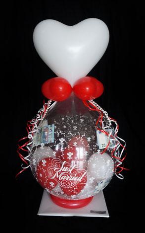 Ballon Just Married Luftballon Geschenk Geschenkballon Überraschung Hochzeit Herzlichen Glückwunsch Geldballon Geld Geldgeschenk Herz Verpackungsballon Verpackung Blickfang Hochzeitsfest Trauung Party Standesamt Firma Arbeitskollegen Freunde