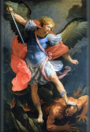 グイド・レーニ「大天使ミカエル」、1636年頃、ローマのサンタ・マリア・デッラ・コンチェツィオーネ教会所蔵