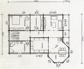 Holzhaus - Blockhaus mit Erker - Grundrissplanung - Erdgeschoss - Wohnblockhaus - individuelle Planung - Allergikerhaus - Massivholzhaus - Holzhaus bauen - Bielefeld -  Sachsen Anhalt - Wernigerode -  Lüneburg - Osnabrück - Münster - Hausbau - Holz