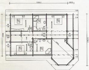 Grundrissplanung - Obergeschoss -  Blockhaus mit Erker als Einfamilienhaus aus individueller Planung  - Wohnblockhaus - Allergikerhaus