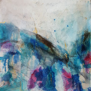 """Symphony in Blue"" 30 x 30cm mixed media on cradled board. SiB01mm"