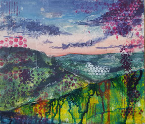 """View North from Old Shaftesbury Drove"" 27.5 x 30.5cm, mixed media on cradled board. VNOSD01mm."