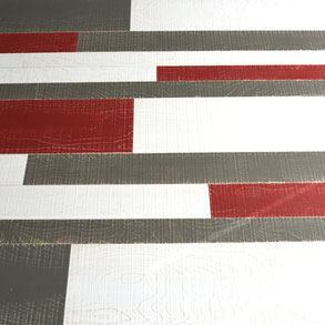 Wandverkleidung Rot, Weiß, Grau, Vintage