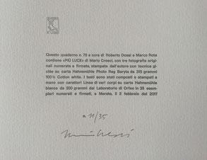 dettaglio del colophon numerato e firmato