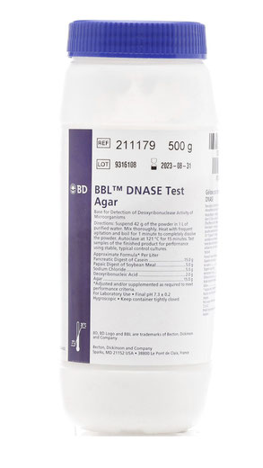 211179 BD BBL™ Agar Prueba DNASA, 500 g