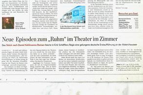 """Daniel Kehlmanns """"Ruhm"""" im Theater im Zimmer - Presseartikel Hamburger Abendblatt"""
