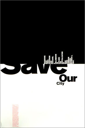 'Save our city', cartel para difundir la disciplina del diseño - Pentagram.