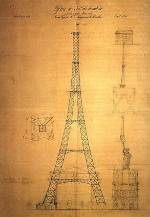 Boceto Maurice Koechlin y Émile Nouguier.