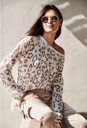Pullover Leo-Print Leinen