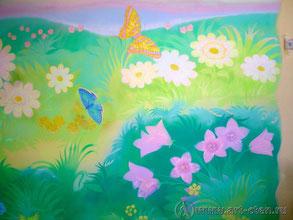 Дети, находящиеся возле детской росписи чувствуют себя в безопасности и привыкают к природе.